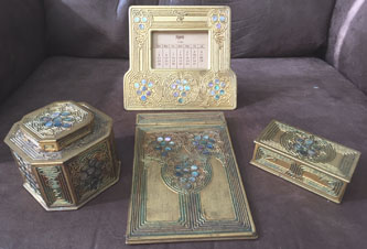 tiffany studios abalone inkwell stamp box calendar note pad