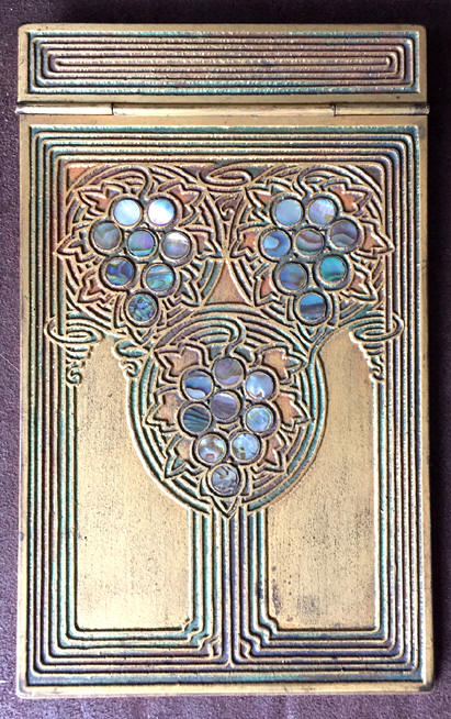 tiffany studios abalone note pad wooden base