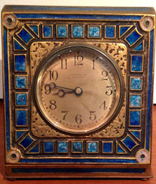tiffany studios art deco blue clock furnaces