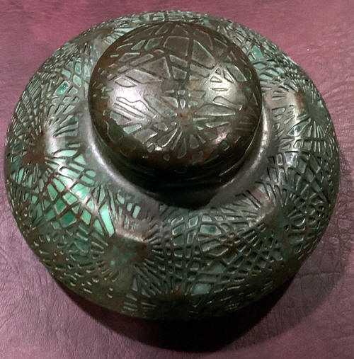 pine needle inkwell tiffany studios